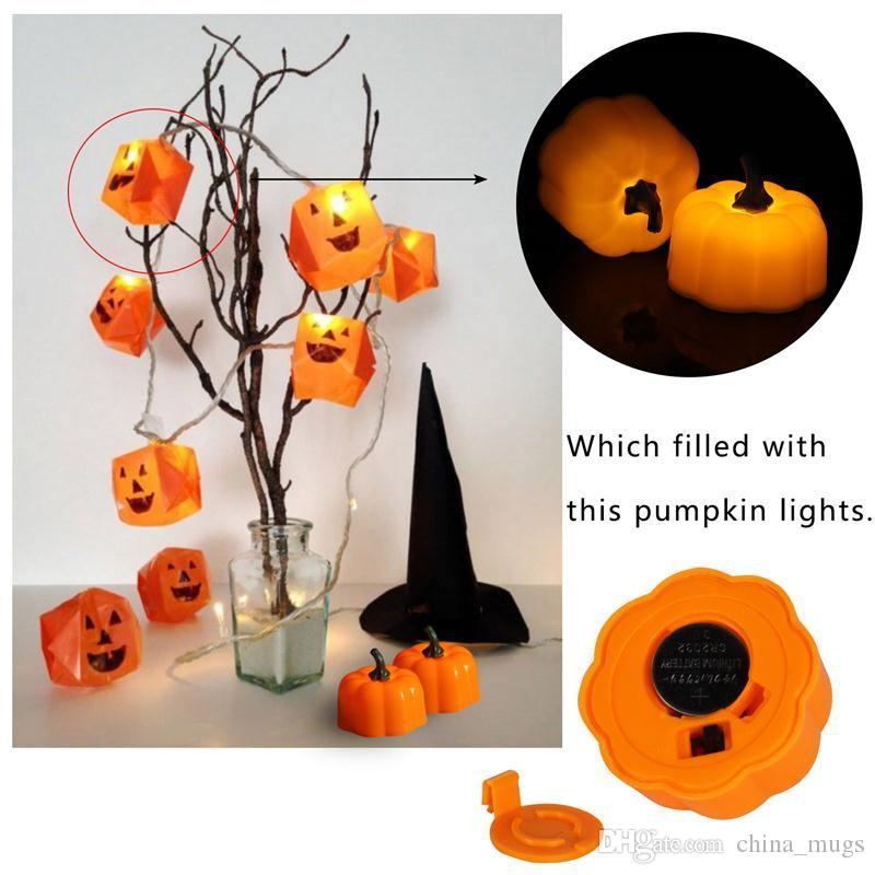 Halloween Pumpkin Flicker Battery Electric Candle Festival Party Night Lighting Luminous Decoration LED Candle Light Smokeless Flameless