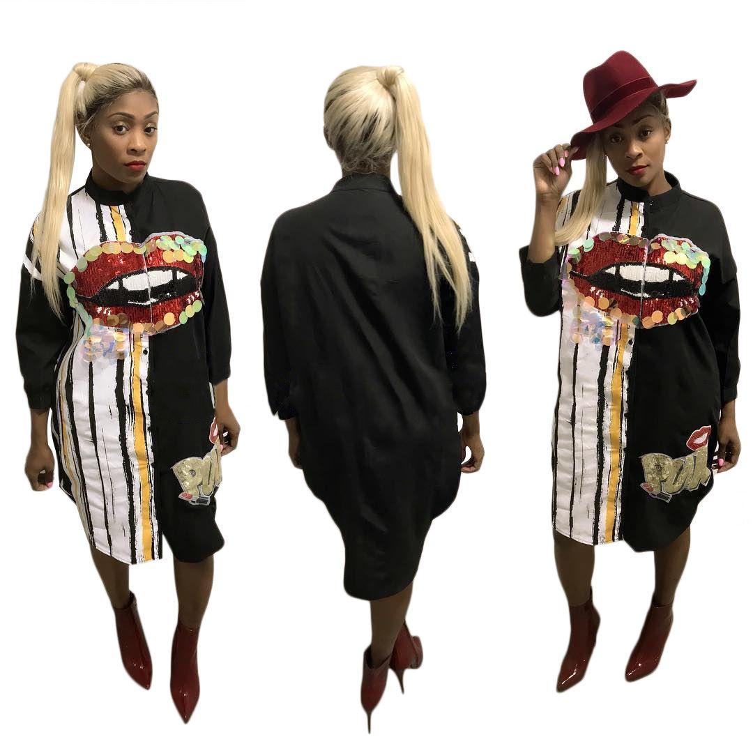 Women's Clothing Sequin Long Shirt Dress Women PUNK Letter Red Lips Splice 2018 Summer New Street Wear Full Sleeve Casual Dress Vestidos