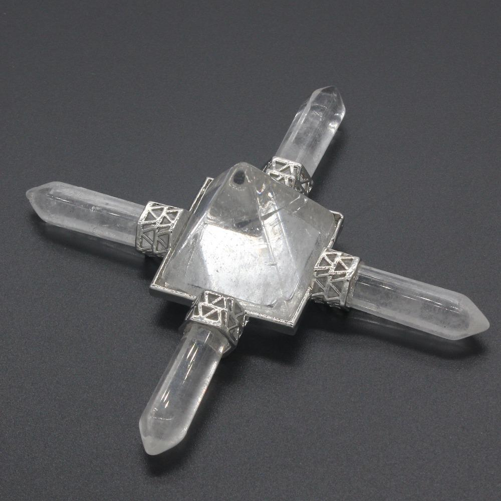 Kraft- Silver Plated Natural Rock Crystal Square Pyramid Hexagon Power Energy Transmitter Pendant Fashion Jewelry