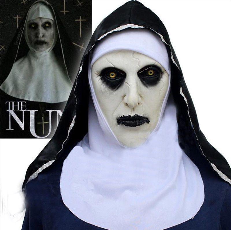 A freira Cosplay Máscara Traje Capacete Capacete Valak Halloween Scary Horror Conjurando Brinquedos Assustadores Festa Costume Adereços To933