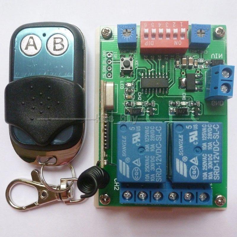 Freeshipping 433 ميجا هرتز dc 12 فولت 2ch multifunction اللاسلكية تحكم الموقت تأخير التتابع rf التبديل EV1527 نسأل موافق التحكم عن