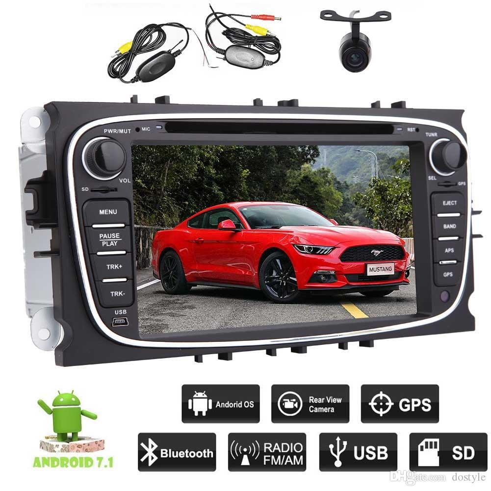 Android 7.1 Car Stereo 2GB Octa Core Double Din Car dvd Navigation HeadUnit For Ford Focus Bluetooth WiFi MirrorLink Wireless Backup Camera