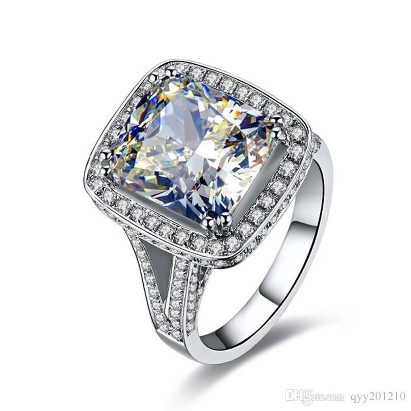 İnanılmaz 8Ct Muhteşem Sentetik Büyük Elmas Nişan Yüzüğü Efendisi Kadın Yüzük Gümüş Öner Takı Gelin Yüzük