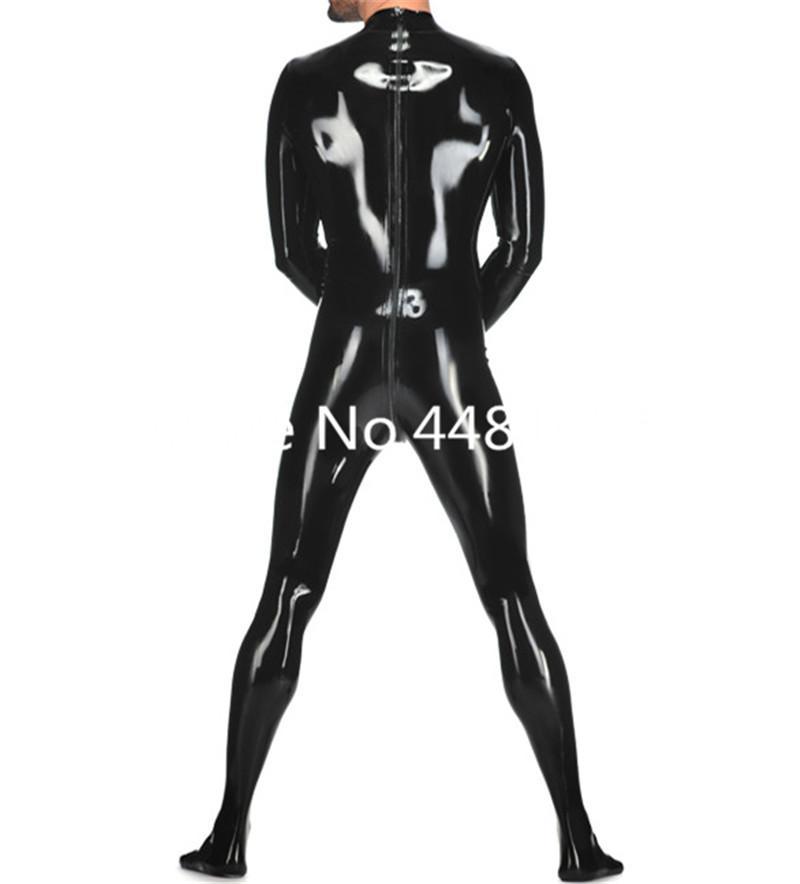 Catsuit اللاتكس مع الجوارب ارتداءها المطاط اللاتكس الذكور مع طريقتين عودة زيبر أسود اللون حجم المكونات