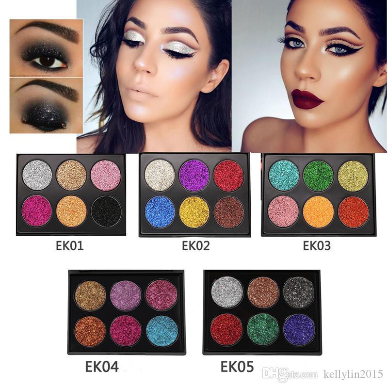 Glitter Eyeshadow Palette 6 Colors Popfeel Makeup Diamond Eye Shadow Powders Beauty Cosmetics Sets Shimmer Eyeshadow Palettes