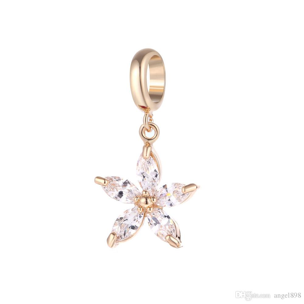 Angel bola Endless Charms Pentacle crystal zircon Charm Interchangeable Jewelry 3 Colors Brass Material DIY Accessory Small pendant