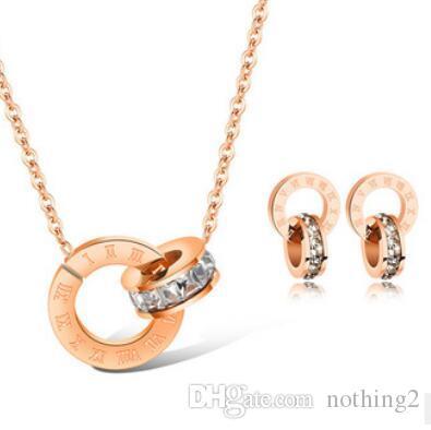 Kadınlar için takı takı setleri sıcak fasion altın rengi çift yüzük küpe kolye titanyum çelik setleri gül