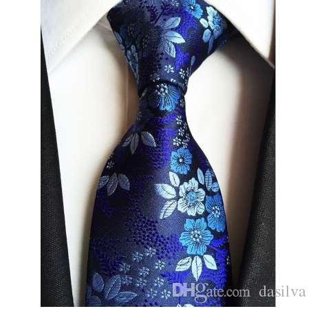 Fábrica de 7 Estilos de Flores de Marinha Floral Azul Jacquard Clássico Dos Homens Gravatas Gravatas Gravata de Gravata Noivo gravata do Casamento 100% de Seda gravata