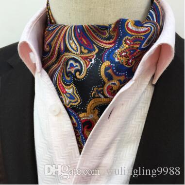 Hombres corbata de Ascot corbata de Paisley Vintage Jacquard floral seda corbata corbata empate Scrunch auto estilo británico caballero corbata