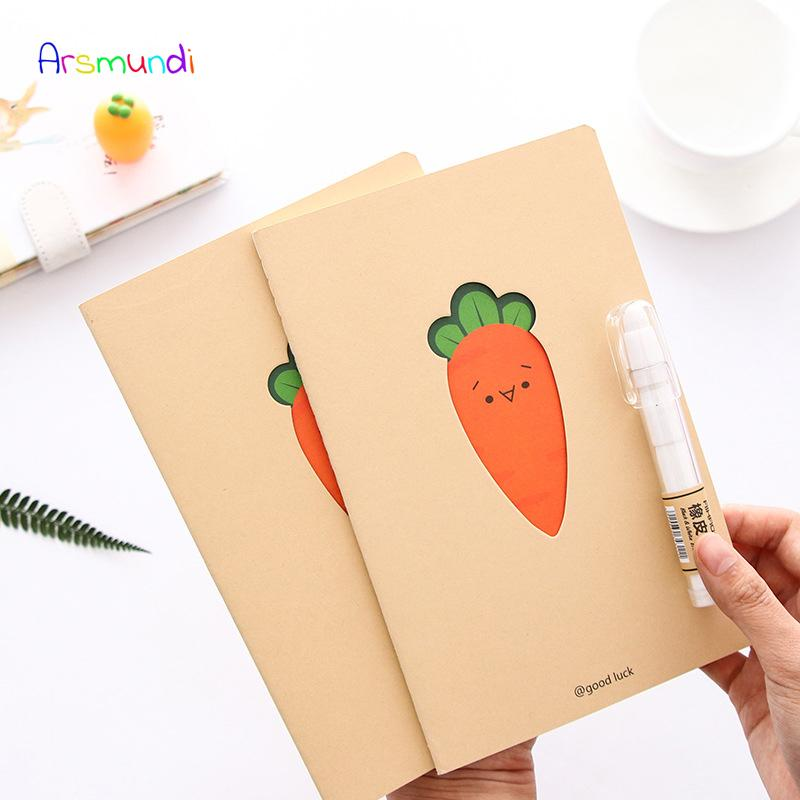 Arsmundi Cute Carrot Notebook A5 Car Line Student Notebook Korean Small Fresh Leather Notepad Stationery Office School Supplies