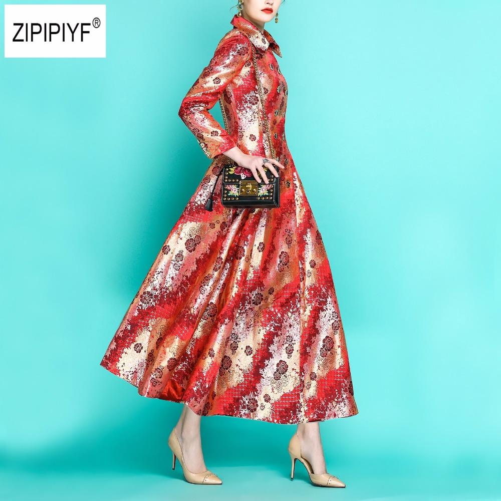 Autunno e primavera Vintage Donna X-Long Trench Fashion Full Sleeve Dobby Satin Turn Down Collar doppio petto Trench B1134