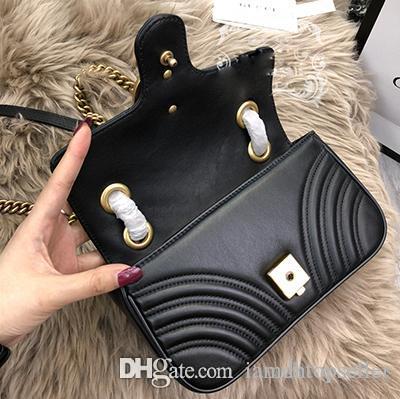Büyük indirim! Dalgalı Desen kapitone Deri Marmont Zincir Omuz Çantası Tasarımcı Moda Crossbody Çanta Çanta Çanta