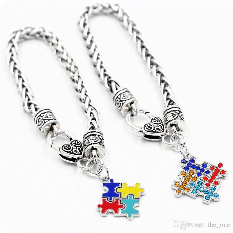 Autism Awareness Puzzle Jigsaw Colorful Fashion Square Enamel Charm Bracelet Friendship Jewelry for kids boys girls unisex women men