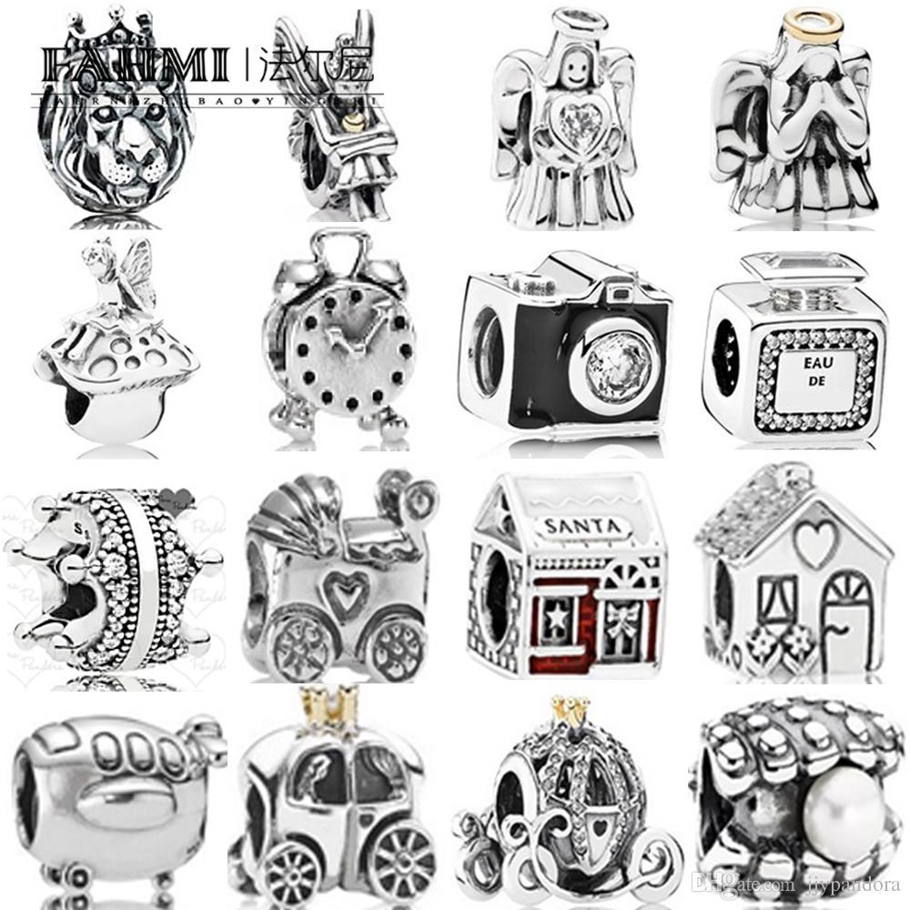 FAHMI 100% 925 Sterling Silver 1:1 Charm Baby Carriage Alarm Clock Royal Carriage Pearl Bottle Bead Santa's House Enamel Angel of Love