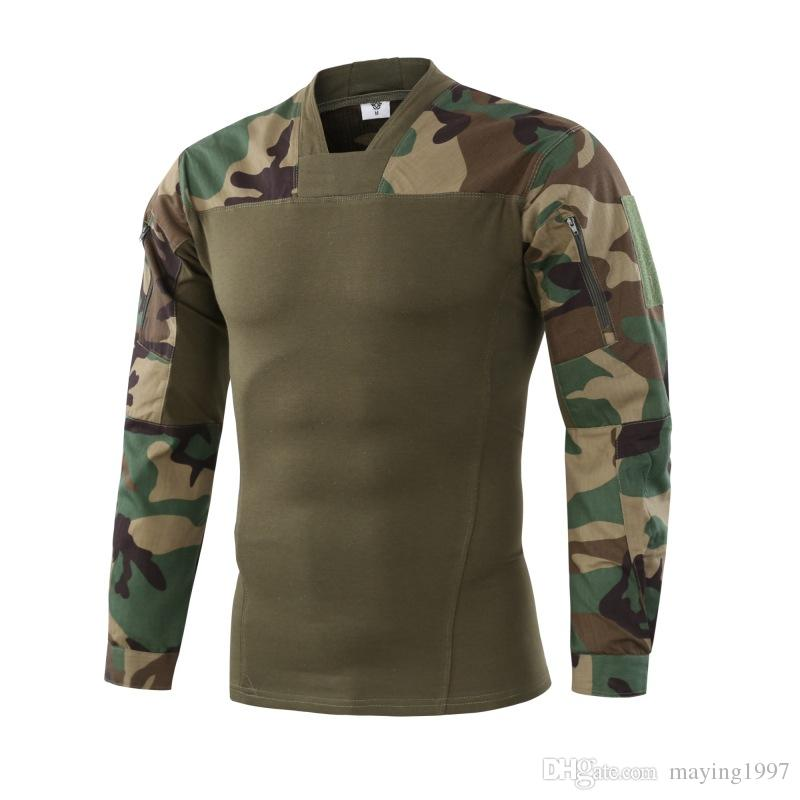 Camouflage colors US Army Combat Uniform military shirt cargo multicam Airsoft paintball tactical cloth with Long Sleeve T Shirt