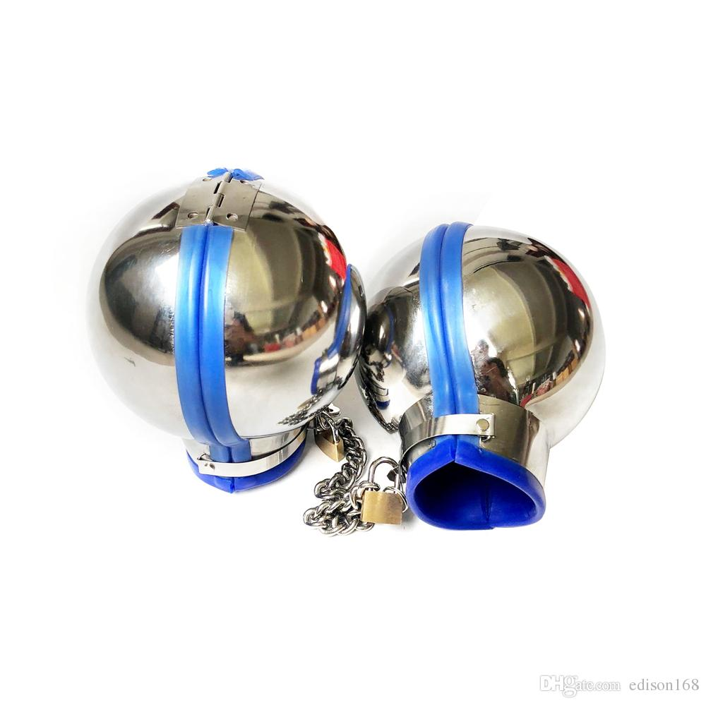 Luxury Male Female Stainless Steel Ball Handcuffs Manacle With Chain Lock Wrist Restraint Hand Bondage Dog Slave BDSM Adult Sex Toy 1121
