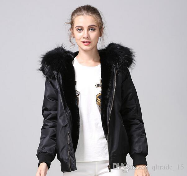 fashion nylon jackets Meifeng brand black raccoon fur trim ladies snow coats black rabbit fur inside black bomber parka
