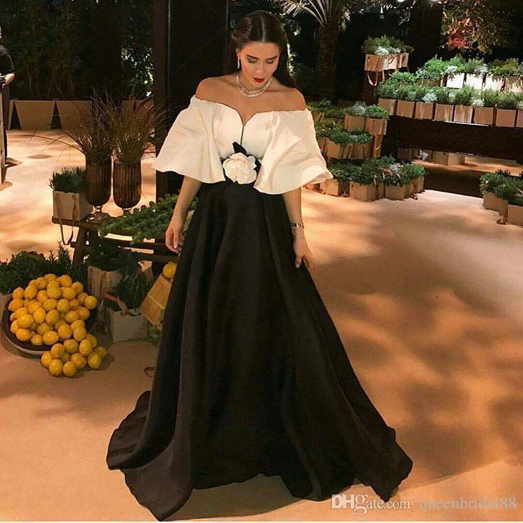 Modest White and Black Formal Evening Dresses with Flower Sash A Line Long Satin Celebrity Party Gowns