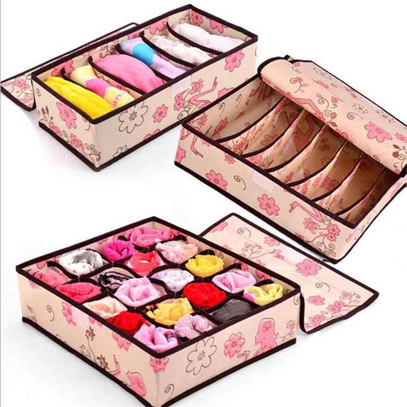 3pcs/set Non-Woven Fabric Folding Storage Box Underwear Necktie Bra Socks Briefs Organizer Box Home Storage Bag Case