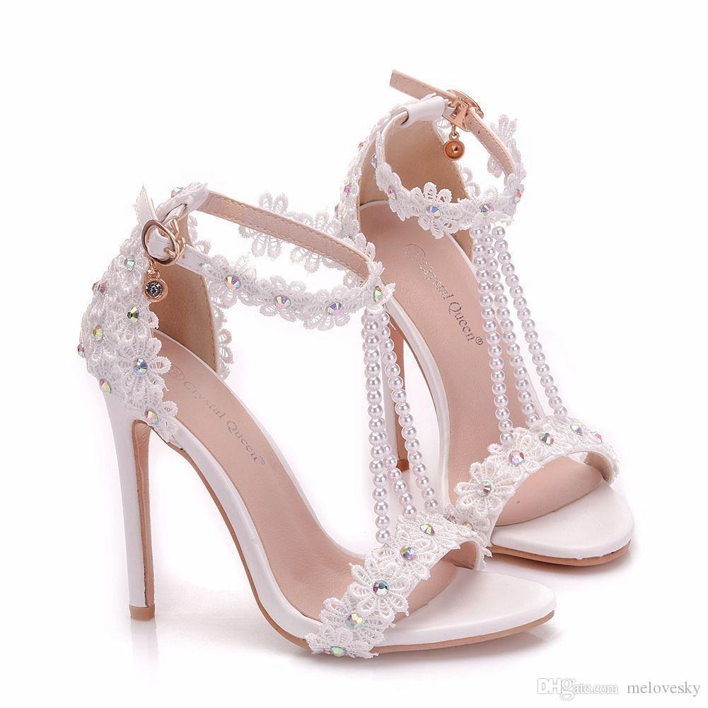 Scarpe Da Sposa Aperte.Acquista Nuove Scarpe Aperte Perline Bianche Le Donne Tacchi Alti