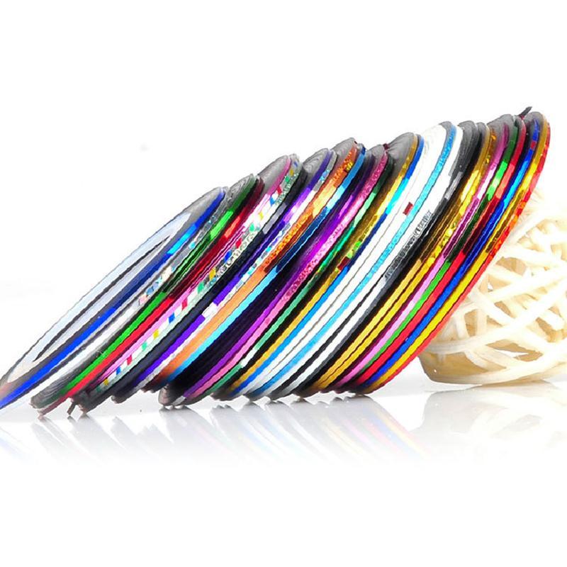 Nuevo 10/20 / 30pcs colores mezclados Rolls Striping Tape Line DIY Nail Art Tips decoración Sticker envío gratis