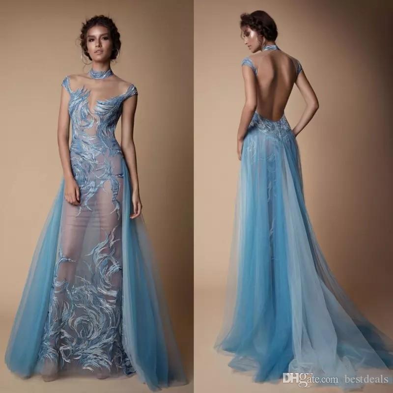 Berta Illusion Kleider Abendgarderobe Stehkragen Sexy Abendkleid Backless Mermaid Runway Fashion Kleid Mit Abnehmbarem Zug