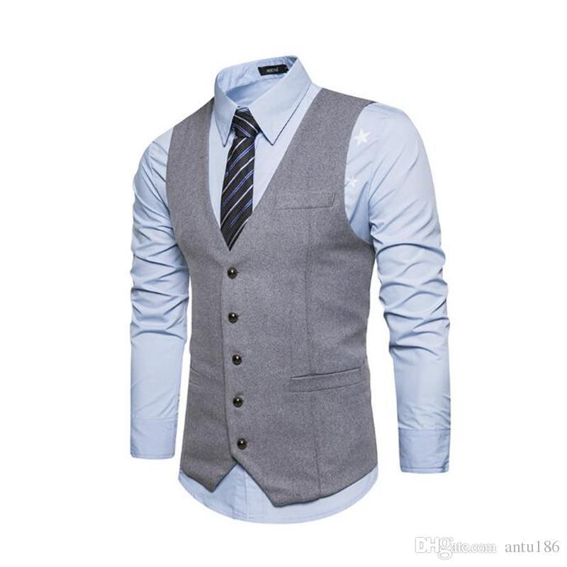 Sonbahar ve kış yeni katı renk vahşi rahat takım elbise yelek erkek dış ticaret İngiliz rüzgar tek sıra toka yelek