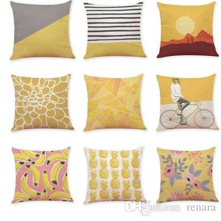 Almohadas decorativas amarillas Funda de almohadas geométricas Funda de almohada geométrica gris Decoración del hogar Almohadas de terciopelo de estilo nórdico para el sofá