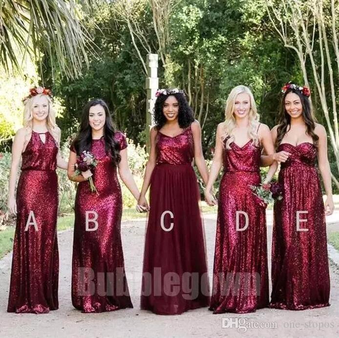 2018 고품질 부르고뉴 신부 들러리 드레스 스팽글 스팽글 망치 루칭 혼합 스타일 바닥 길이 선의 하녀 명예 드레스