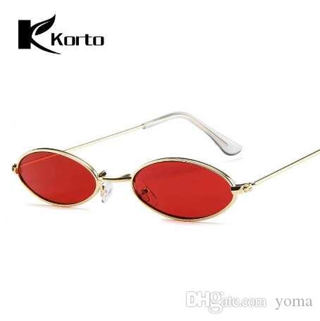 90-е овальные солнцезащитные очки маленький круглый для женщин Рианна мода тонированные Красный мужчины очки дамы старинные очки желтый очки