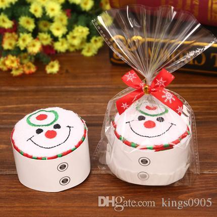 neue Mode Frohe Weihnachten Geschenk Cupcake Baumwolle Handtuch Natal Noel Neujahr Dekoration Weihnachtsschmuck für Zuhause Kinder Kinder 30x30 cm