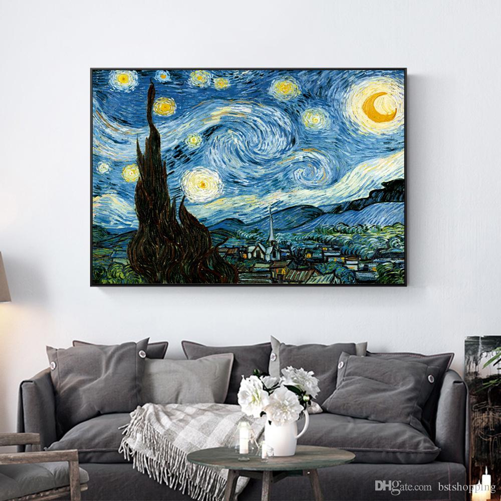 Ван Гог Звездная ночь ручная роспись HD печать абстрактный пейзаж искусство масляной живописи стены искусства домашнего декора на холсте высокого Qualityl 204