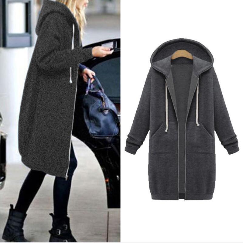Capuz velo longo Mulheres Brasão Jacket Zip-up Casual outono inverno quente Básico Jaquetas Cotton Plus Size Overcoat BLD1227