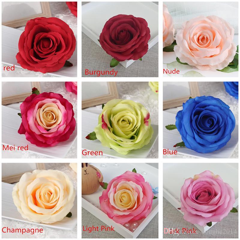 100 Pcs Grand Rose Fleur Simulation Rose Tête En Gros Bleu Rose De Mariage Décoration De Fête D'anniversaire Fournitures Roses Décoration De La Maison Fleurs