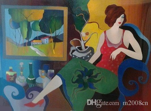 Itzchak Tarkay Living Room View,Handpainted /HD Print Lady Cafe Portraits Wall Art Oil Painting On Canvas.Multi Custom Sizes /Frame It108