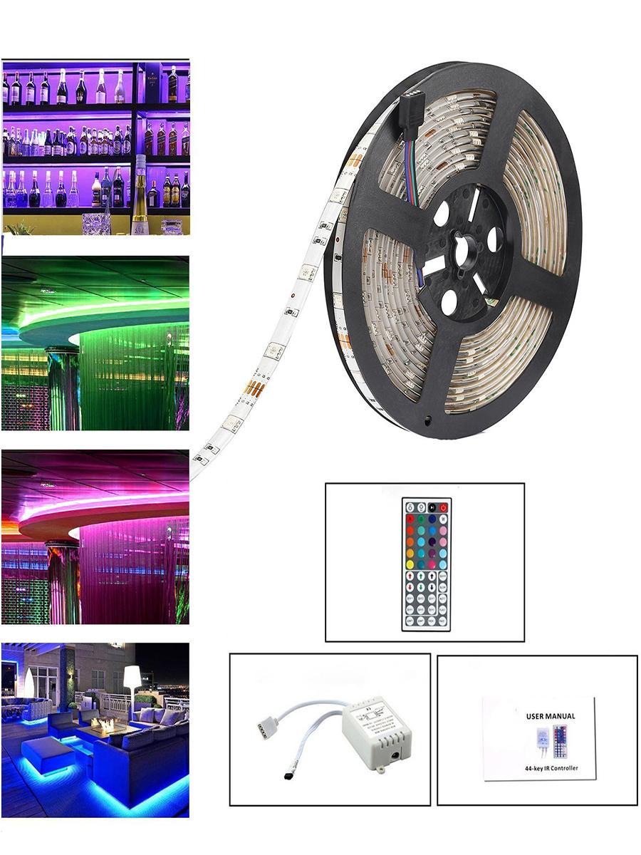 5M RGB 150LEDs Strip 5050 SMD Bandes de lumière flexibles Party Festival + Télécommande à 44 touches