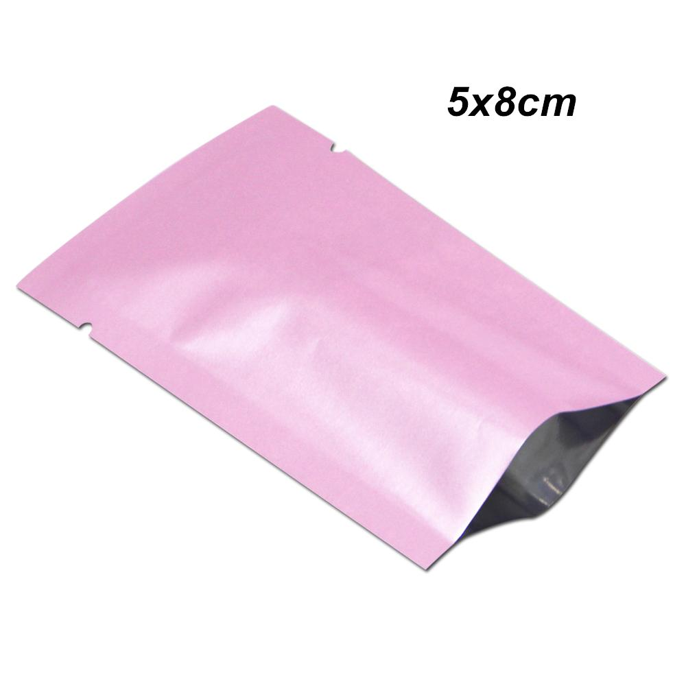 500pcs Lot 5x8cm Pink Open Top Aluminum Foil Heat Seal Packing Bags Vacuum Mylar Foil Tear Notch Food Storage Pouch for Dried Nuts Candy Tea