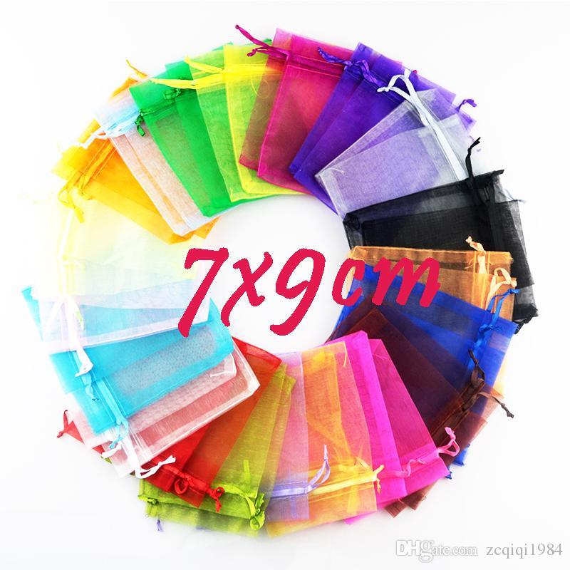 7x9cm بالجملة هدية عيد الميلاد 100PCS جميلة مختلط لون الأورجانزا الحقيبة حقيبة المجوهرات هدية لمهرجان الزفاف