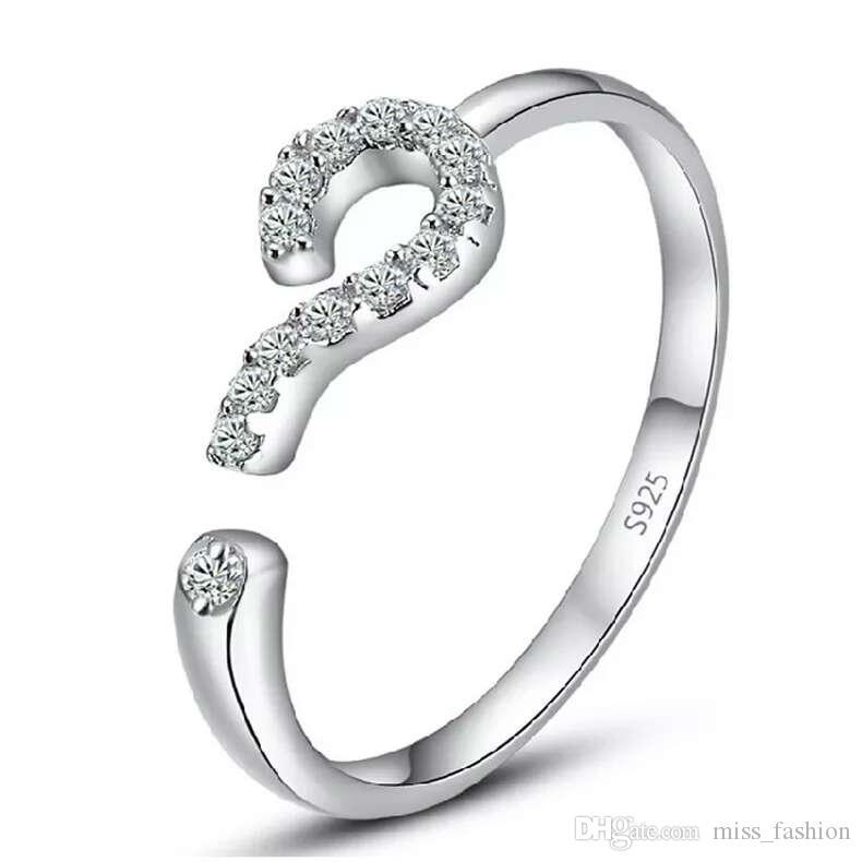 Gratis verzending 925 Sterling Silver Crystal Ring Vraagteken Single Open Design Nieuwe Collectie