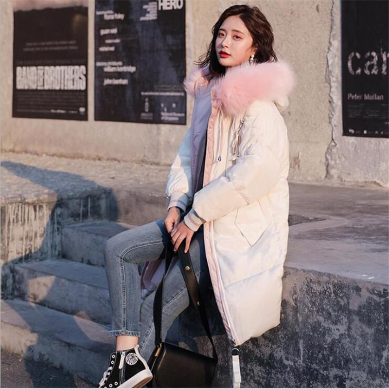 2018 New For Winter For Women Ladies Loose Cotton Younger 5 Colors Long Down Jacket Casual Cotton Parks Women Long Warm Coat