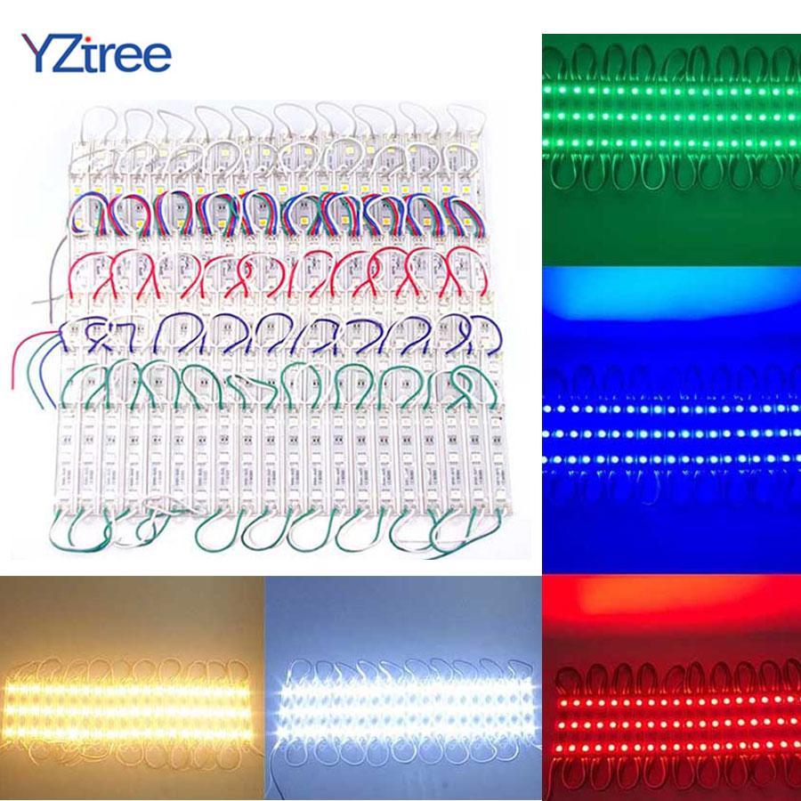 20 STÜCKE 3 LEDs SMD 5050 LED-Module Licht DC12V Wasserdichte Lampe Hintergrundbeleuchtung für Plakatwerbung Licht Warmweiß Rot Grün Blau
