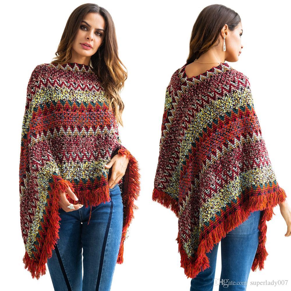 Pullover capa chaqueta femenina otoño e invierno dos borlas suéteres de las mujeres suéteres de moda casual outwear abrigo