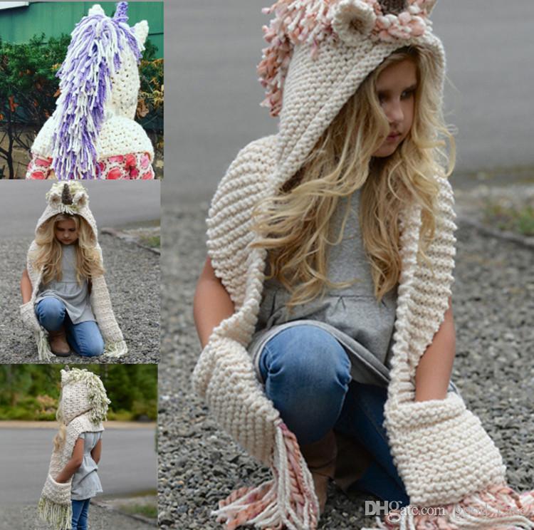 Kids Unicorn Hat Scarf 2 in 1 Infant Winter Knitted Cartoon Hats Children cloak Warm Knitting Beanie Caps with Tassel Crochet Scaves Cap hot