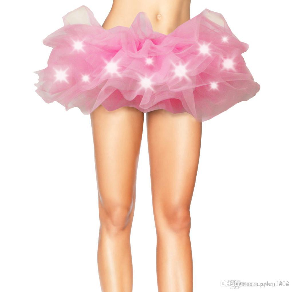 Kadınlar Çok Renkler Dans LED Tutu Mini Etek Kostüm Light Up Neon Fantezi Gökkuşağı Mini Tutu Elbise Kostüm Yetişkin Tutu Balo Etek