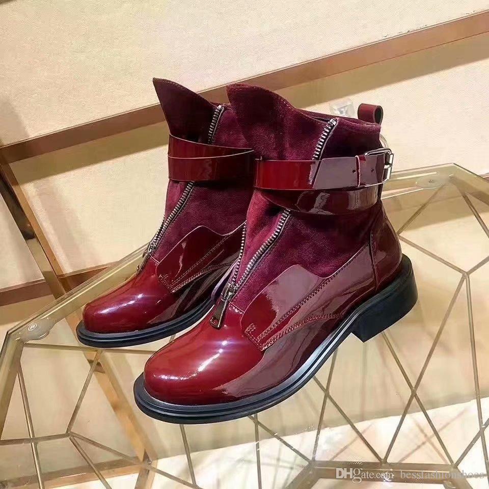 Café rétro rouge vin noir femmes mode combats désert bottines bottes chaussures ceintures boucles mode femme bottes martin cheville automne bottes en cuir