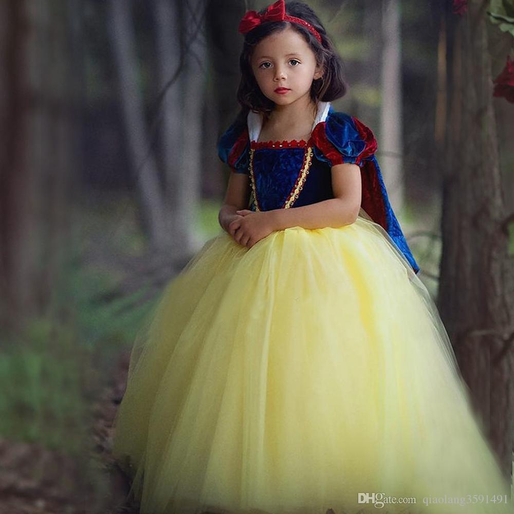 Child Girls Princess Snow White Cosplay Tutu Dress Party Festival Fancy Dress Up