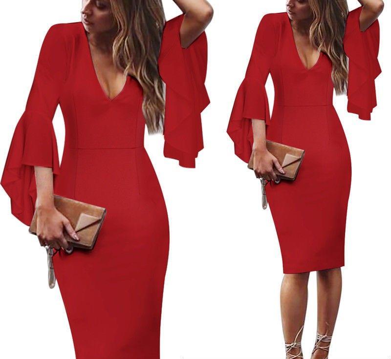 Top 2020 Hiver Nouveau Mode féminine Robes irrégulière Sexy Décolleté V trompette manches Slim Casual Robe en dentelle contrôlée taille des robes Taille Plus