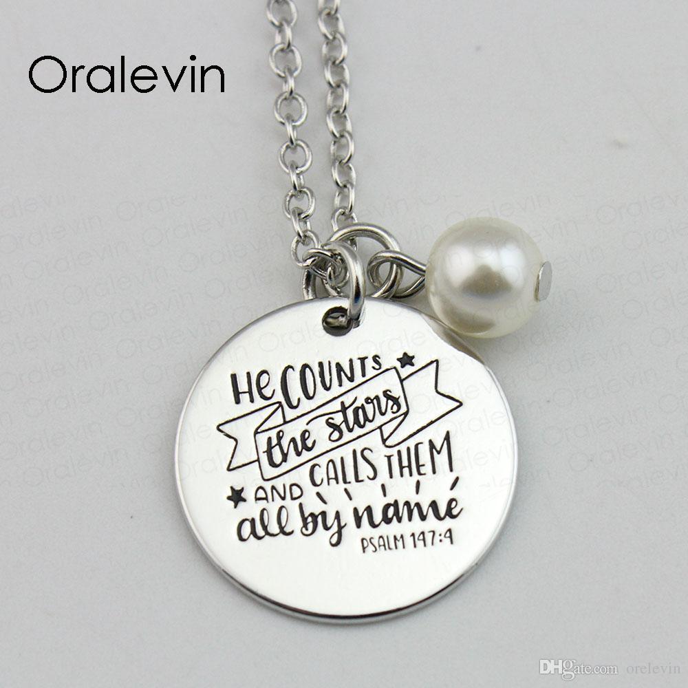 CUENTA LAS ESTRELLAS Y LAS LLAMA A TODAS POR nombre Inspirational estampado a mano grabado colgante personalizado collar de regalo de la joyería, 10 piezas / lote, # LN646