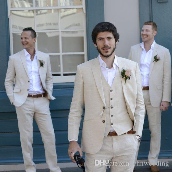 Latest Coat Pant Designs Ivory Beige Beach Linen Men Suits 2018 Wedding Suit Bestmen Summer Marriage Groom Tuxedo 3 Piece(Jacket+Pant+Vest)