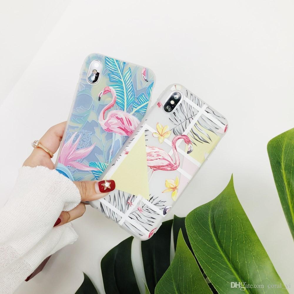 For iPhone X 6 6S 7 8 Plus Case Flamingo Matte Transparent Slim Phone Protection Back Cover